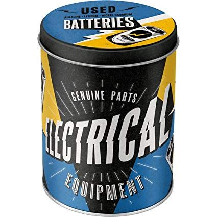 CAJA DE METAL Redonda ELECTRICAL - USED BATTERIES Nostalgic Art