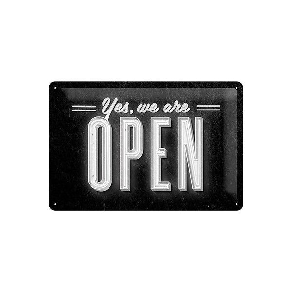 "PLACA DE METAL 20x30 cm. ""YES, WE ARE OPEN"" N.A."