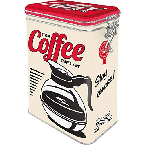 """CAJA DE METAL clip """"Strong Coffee Served Here"""" N.A."""
