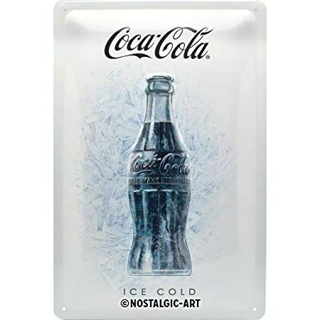 "PLACA DE METAL 20 x 30 cm ""COCA-COLA ICE WHITE"" Nostalgic Art"